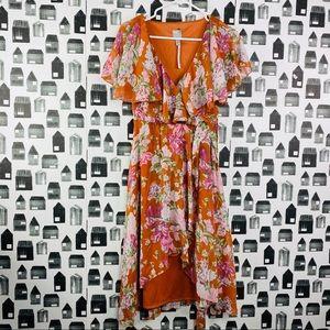 ASOS | NWT Floral Ruffled V-neck High Low Dress